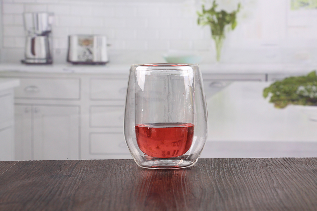Cute Glassware Double Wall Borosilicate Glass Cup Cute Stemless Red Wine