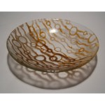 Brown and Amber Bubble Recycled Glass Bowl