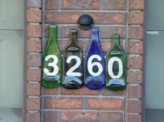 Fused Recycled Bottle Glass House Numbers