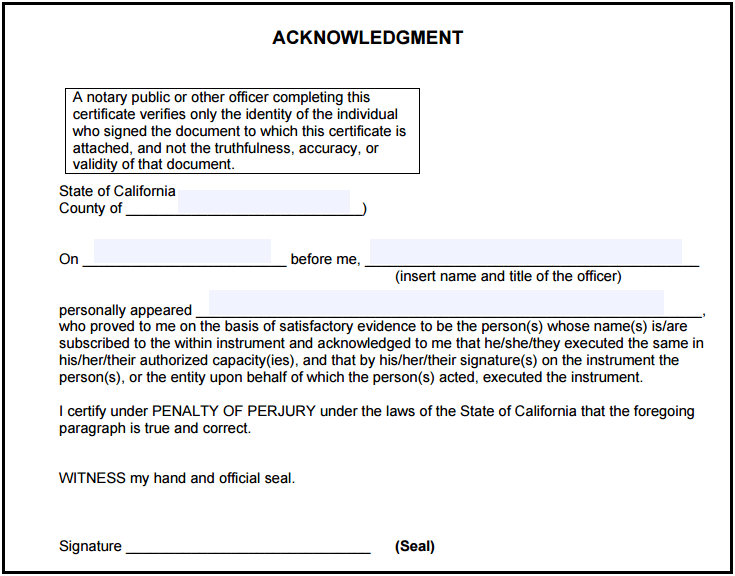 California Notary Acknowledgment Notary Public Forms