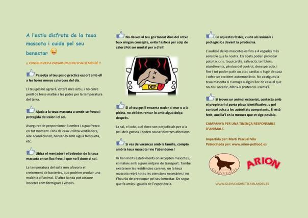"""Tríptico """"Consejos para disfrutar del verano con tu mascota"""", cuidando por su bienestar."""