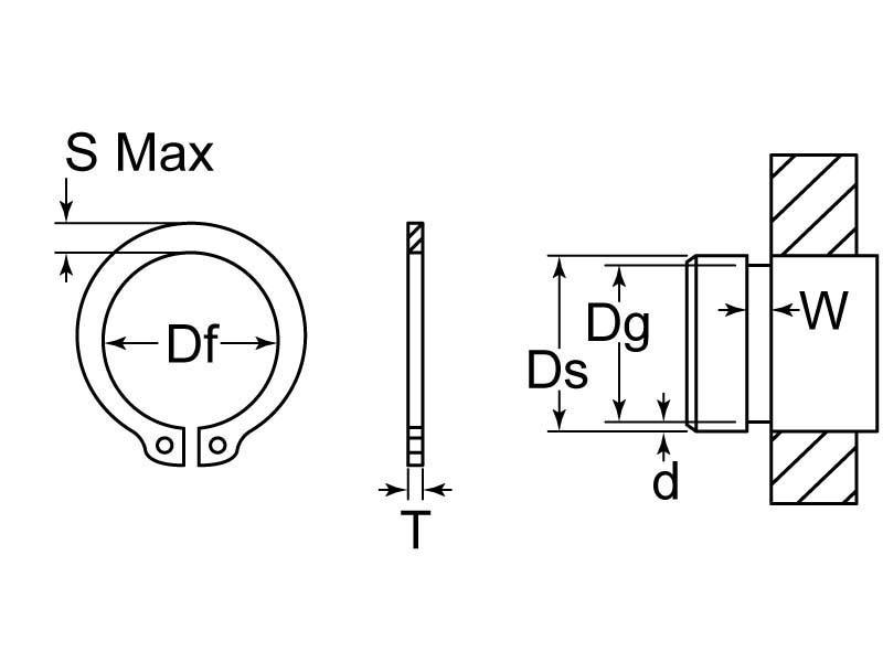 Snap Retaining Ring External Heavy Duty M55 Steel Phos GL Huyett
