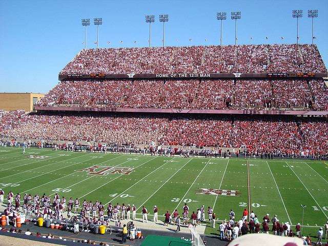 The Texas A&amp;M faithful pack into Kyle Field before a game in 2008.  The Aggies, led by freshman sensation Johnny Manziel, are set to take on Oklahoma in the Cotton Bowl.  -Courtesy of Blake Rea
