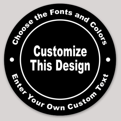 Black Circle Sticker with Curved Text MakeStickers - text logo template