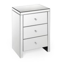 Silver Mirrored Nightstand with 3 Drawers from glit.ca ...