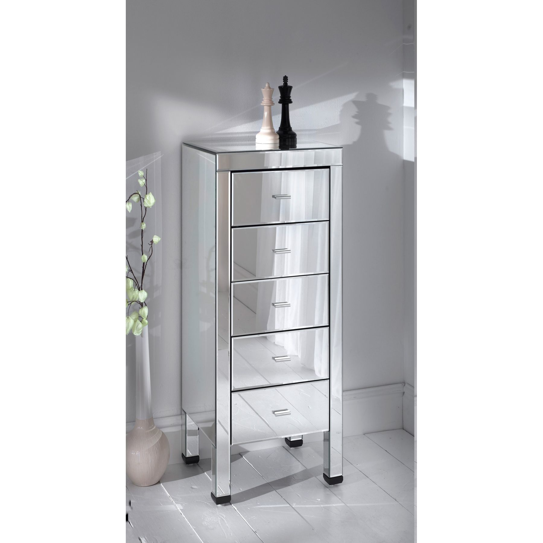 Mirrored Tall Boy Silver Mirrored Tall Boy Cabinet With 5 Drawers From Glit