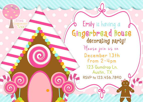 20 Gingerbread House Decorating Party Invitations Glitter \u0027N Spice