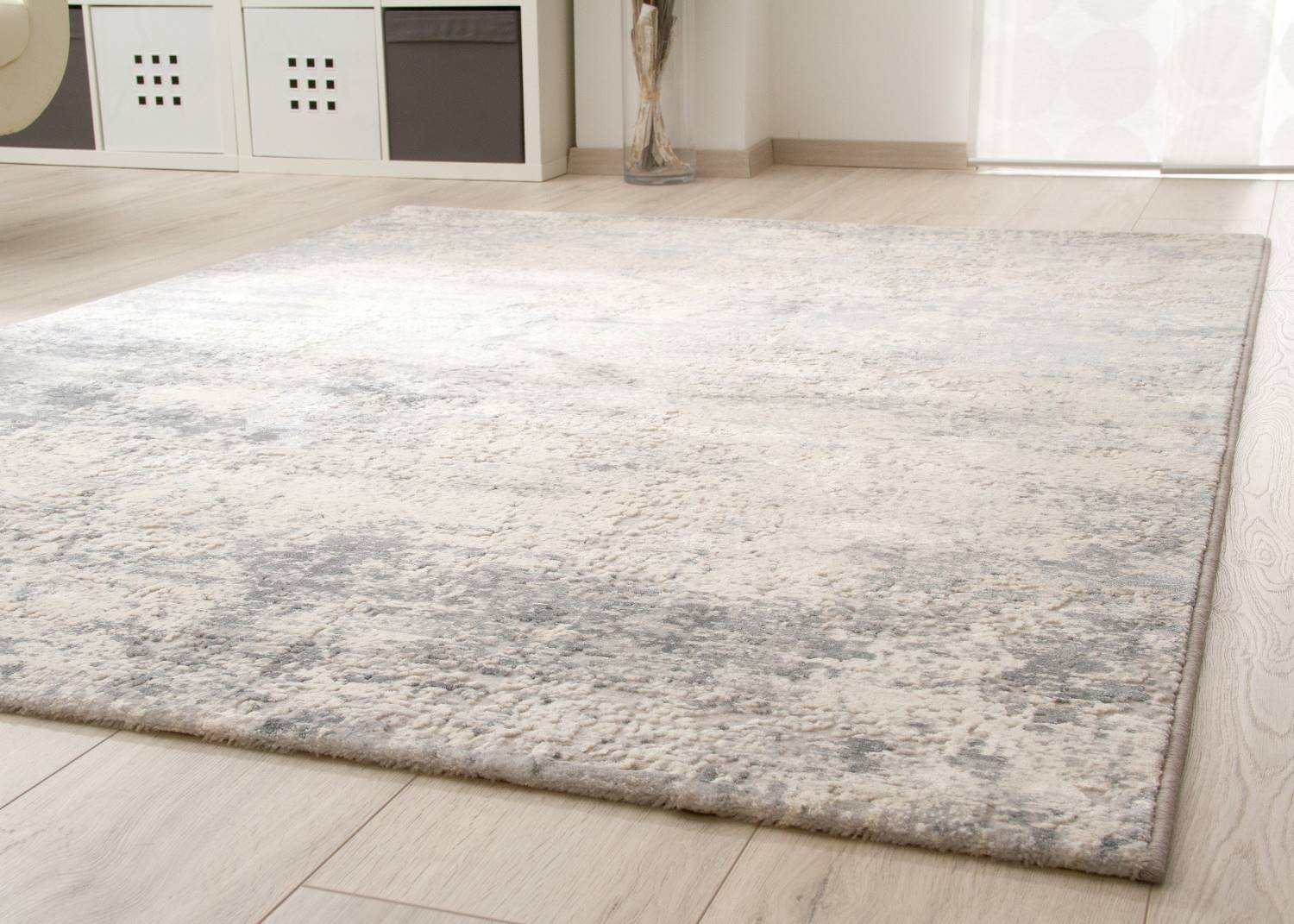 Teppich In Grau Kurzflor Teppich Structured Shine - Vintage | Global Carpet