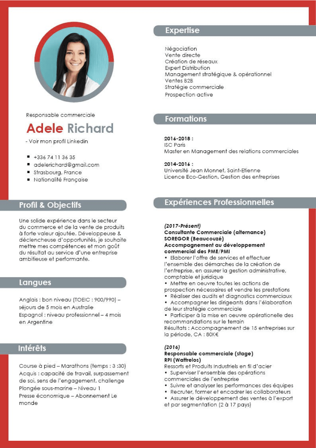 niveau anglais cv english