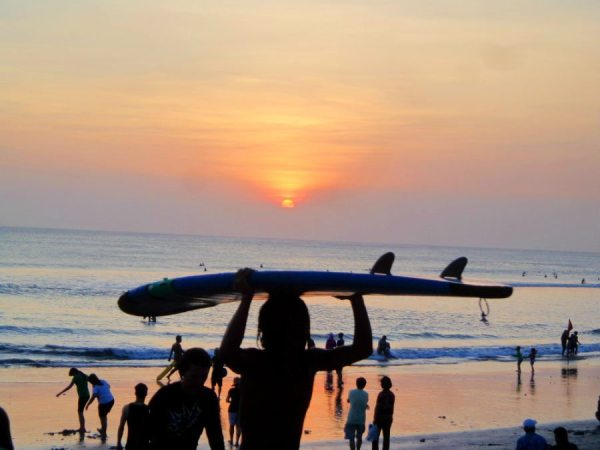 An image of surfboards and sunsets on Kuta beach, Bali
