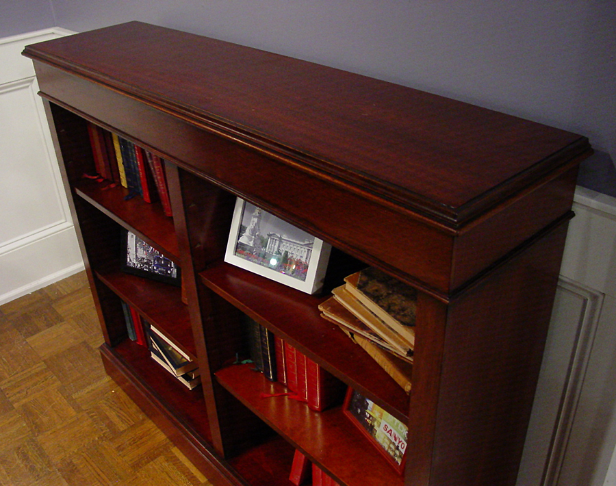 Mahogany Low Open Double Bookcase