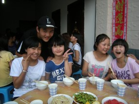 Lunch with host siblings