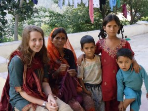 A student with her host family