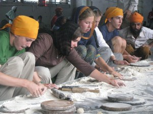 Making chapatis in the Sikh Temple