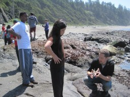 Learning about sea life during a beach clean-up