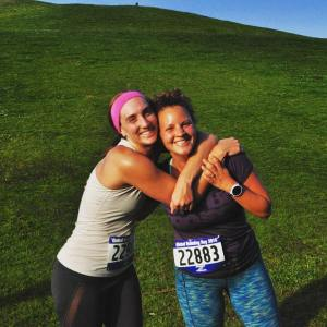 with a friend after November Project Seattle's sunrise 6k in celebration of Global Running Day