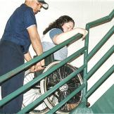 The technique for assisting the evacuation of a person who uses a wheelchair.