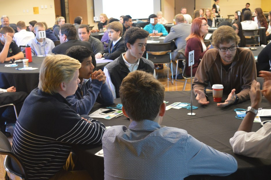 Students networking with International Career professionals
