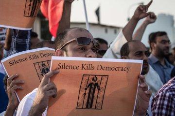 Demonstration demanding photojournalists to be freed, Abu Saiba, Bahrain - 01 Nov 2013