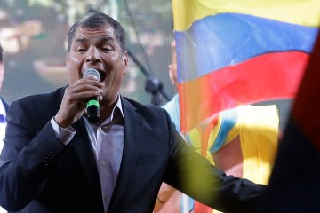 Ecuador's President Rafael Correa delivers a speech in Quito, Ecuador, Thursday, Aug. 13, 2015. A strike by a broad coalition upset with President Correa virtually paralyzed the capital, provincial cities and stretches of the Panamerican highway. The protesters are indigenous activists, unionists, environmentalists and members of the traditional political opposition. (AP Photo/Dolores Ochoa)