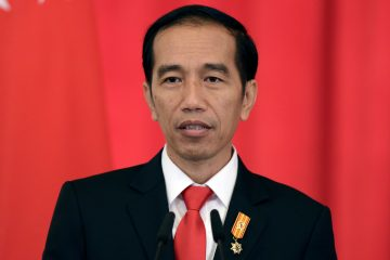 Indonesian President Joko Widodo speaks at a press conference with Singapore Prime Minister Lee Hsien Loong on Tuesday, July 28, 2015 at the Istana, or Presidential Palace, in Singapore. Widodo is in the city-state for a two-day official visit. (AP Photo/Joseph Nair)