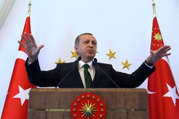 Turkish President Recep Tayyip Erdogan addresses people from southeastern Turkey, in Ankara Oct. 20, 2015. (AP Photo/Presidential Press Service, Pool )