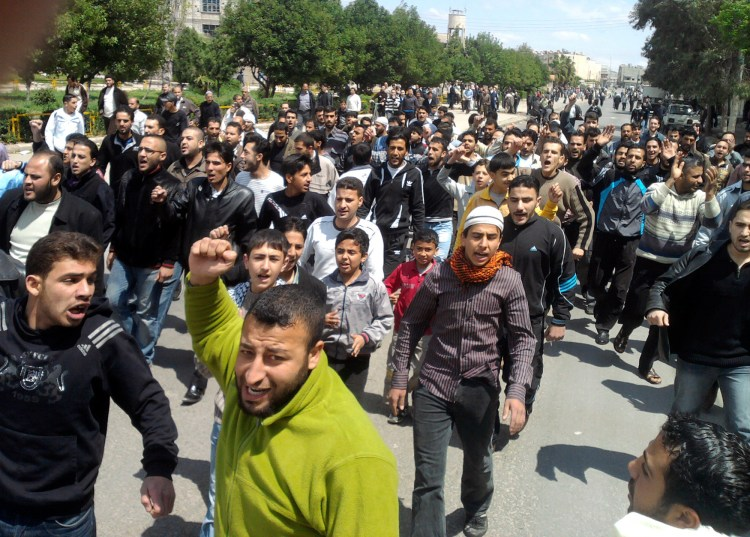 Syrian anti-government protesters in the central city of Homs, April 22, 2011. (AP Photo)