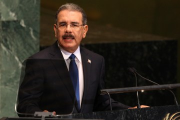 FILE - In this Sept. 25, 2012 file photo, Dominican Republic President Danilo Medina Sanchez speaks during the 67th session of the General Assembly at United Nations headquarters. Medina has urged legislators to decriminalize abortions if a woman's life is at risk or in cases of rape, incest or fetus malformation. The Dominican leader expressed his opinions in a letter sent late Friday, Nov. 28, 2014, to the leader of the Chamber of Deputies as he explained his reasons for vetoing a measure that would double prison sentences in abortion cases. (AP Photo/Seth Wenig, File)