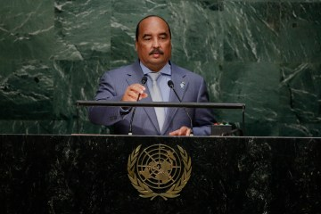 Mauritania's President Mohamed Ould Abdel Aziz addresses the 2015 Sustainable Development Summit Saturday, Sept. 26, 2015, at the United Nations headquarters. (AP Photo/Frank Franklin II)