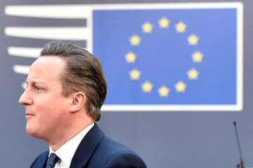 British Prime Minister David Cameron arrives for an EU summit at the EU Council building in Brussels on Feb. 19, 2016.  (AP Photo/Martin Meissner)