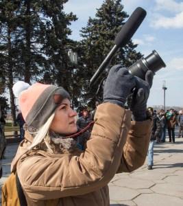 Journalist Kateryna Markova said she had long awaited the fall of the statue. (Frank Follwell)