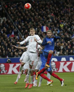Russia's Aleksandr Kokorin, left, and France's Andre-Pierre Gignac during a match  March 29, 2016. (AP Photo/Thibault Camus)