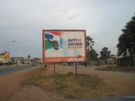 A billboard of Gambia President Yahya Jammeh, pictured in 2014. (AP Photo)