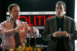 John Harris, left, editor in chief of The Politico, and Jim VandeHei, executive editor of The Politico, speak to advertisers in Arlington, Va., Friday, Jan. 19, 2007. The Politico is a new political newspaper in Washington and also has an online edition at politico.com. (AP Photo/Jacquelyn Martin)