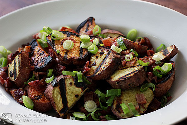 Grilled Sweet Potato & Bacon Salad | Kumara | Global Table Adventure