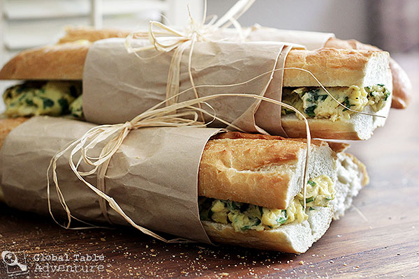West African Toasted Baguette Sandwich with Spinach Scrambled Eggs
