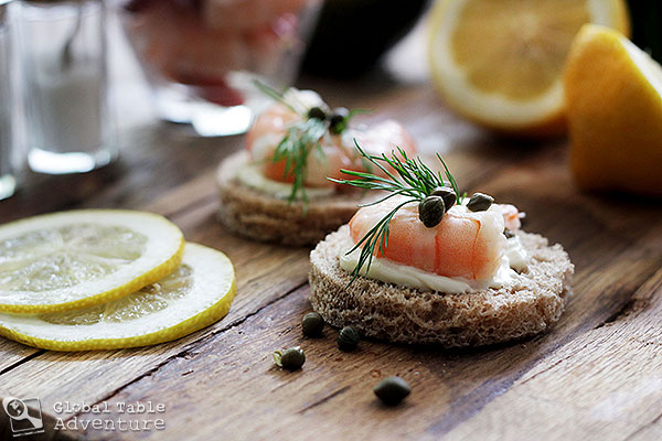 Norwegian Summer Shrimp Party | Shrimp Canapes | Global Table ...