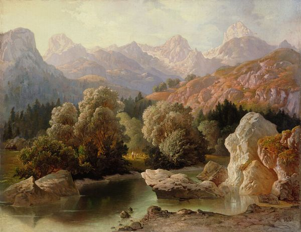Triglav iz Bohinja, painted in oil by Anton Karinger (1829–1870).