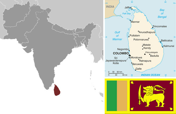 Maps and flag of Sri Lanka, courtesy of CIA World Factbook.