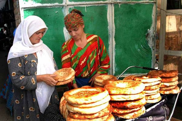 Naan in Tajikistan, photograph by Steve Evans.