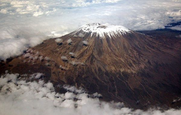Kilma'njaro, captured out the window of a flight from Dar es Salaam. Photo by Paul Schaffner.