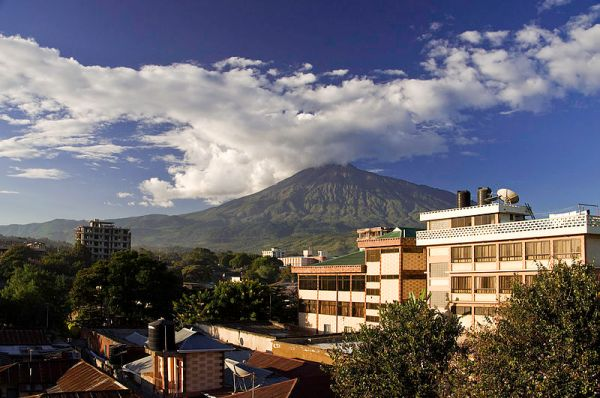 Mt. Meru from the roof terrace of Jevas Hotel; Arusha, Tanzania. Photo by Phase9