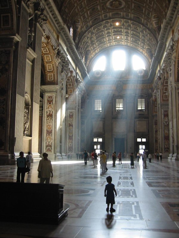 Light streaming into St Peter's Basillica, Vatican City, Rome, Italy. Photo by Jeb.