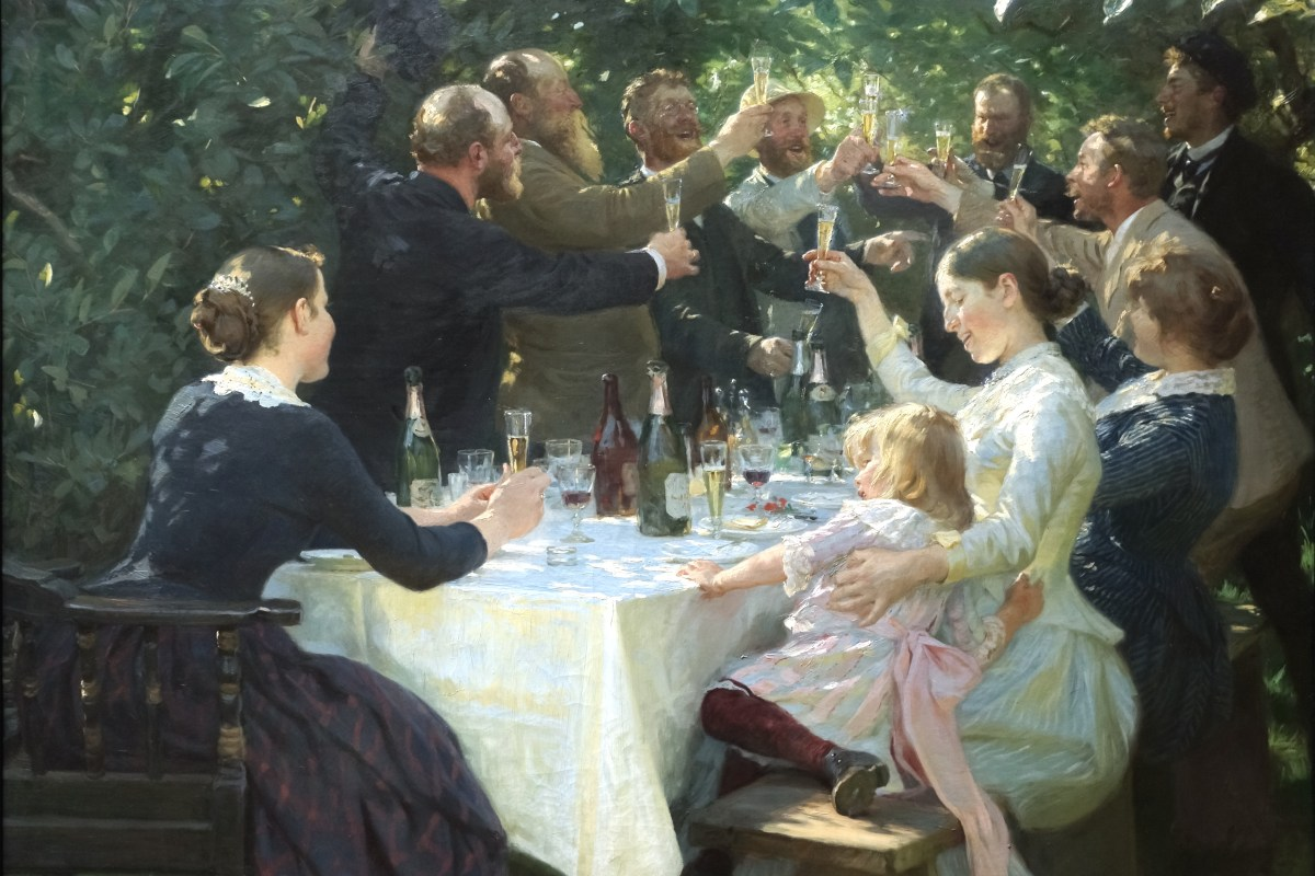 """Hipp hipp hurra! Konstnärsfest på Skagen - Peder Severin Krøyer"" by UFA66 - Own work. Licensed under Public Domain via Commons - https://commons.wikimedia.org/wiki/File:Hipp_hipp_hurra!_Konstn%C3%A4rsfest_p%C3%A5_Skagen_-_Peder_Severin_Kr%C3%B8yer.jpg#/media/File:Hipp_hipp_hurra!_Konstn%C3%A4rsfest_p%C3%A5_Skagen_-_Peder_Severin_Kr%C3%B8yer.jpg"