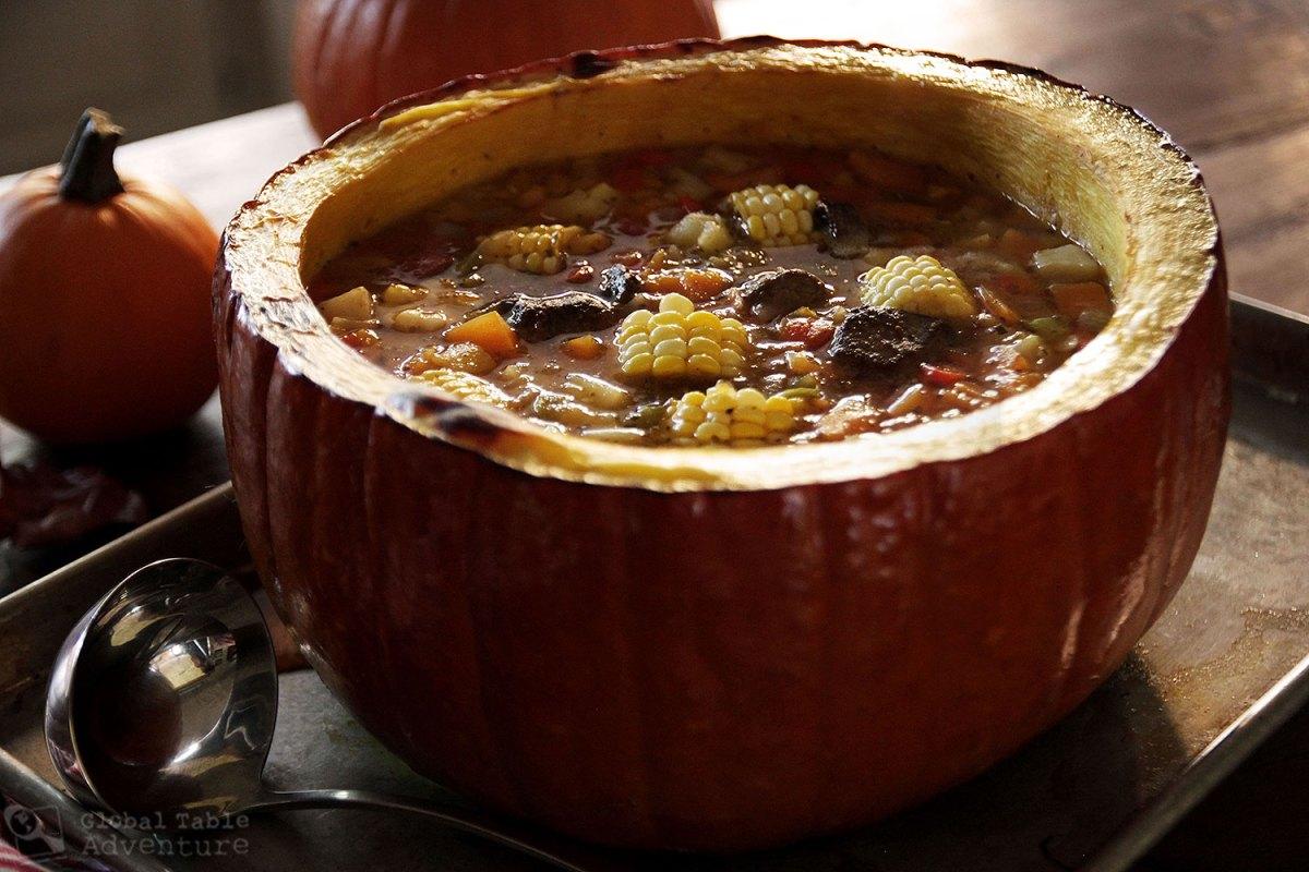 argentine beef stew in a pumpkin carbonada en zapallo