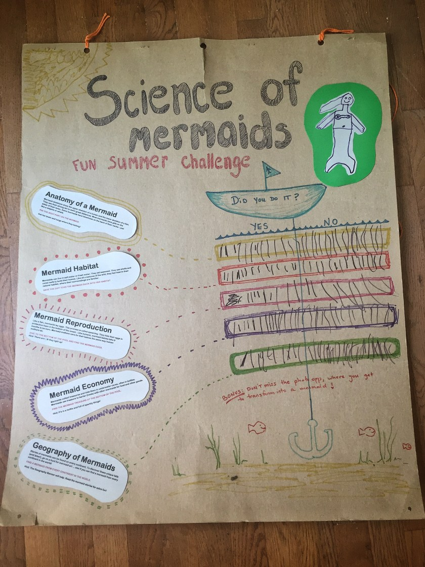 Science of Mermaids Fun Summer Challenge Party Sign