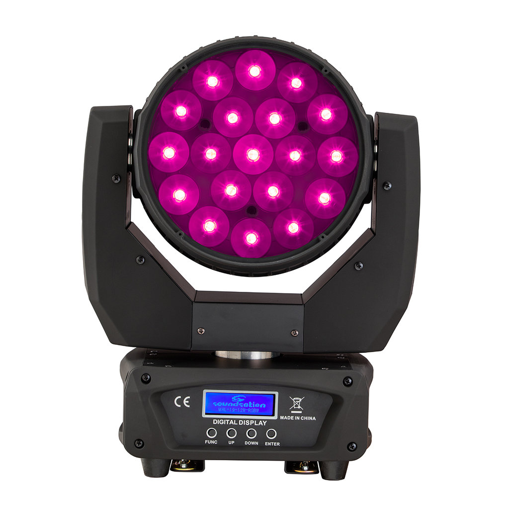 Teste Mobili Led Teste Mobili Beam Wash Led 19 12w Rgbw 4in1 Con Zoom Soundsation