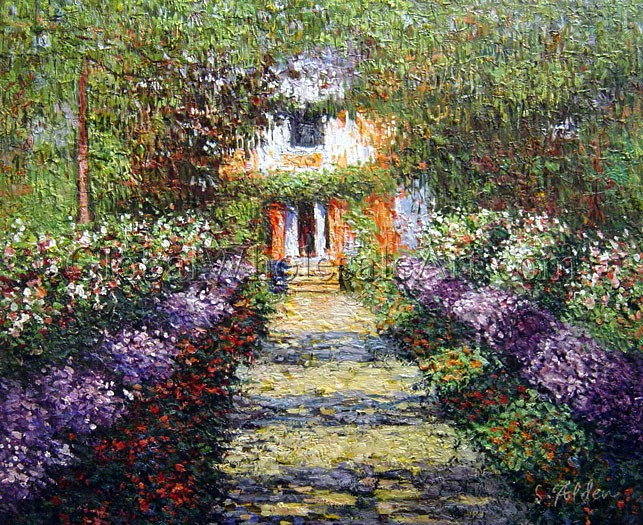 Claude Monet - A Pathway in Monet\u0027s Garden at Giverny - Oil