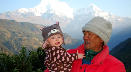 Family Trekking in the Himalayas, Nepal