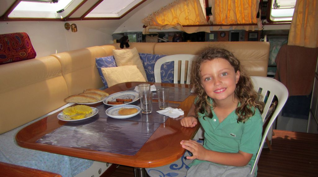 The dining/sitting area inside our catamaran, San Blas, Panama